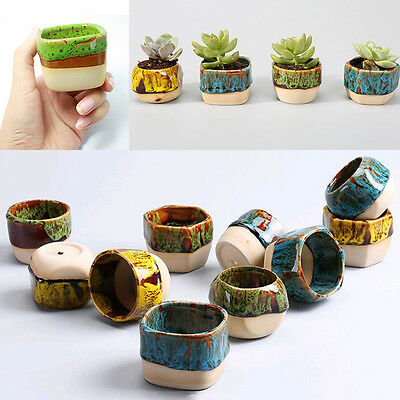 Cute Mini Glazed Ceramic Succulent Planter Flower Bonsai Pot Box Garden Decor
