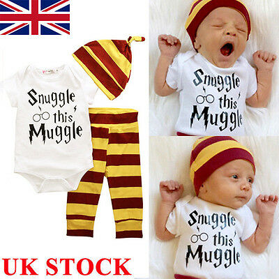 UK 3PCS Harry Potter Snuggle This Muggle Baby Clothes Top Pants Hat Outfit Set
