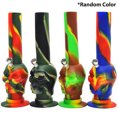 "7.8"" Silicone Bong Portable Hookah Smoking Tobacco Water Pipe Skull Shisha Pipe"