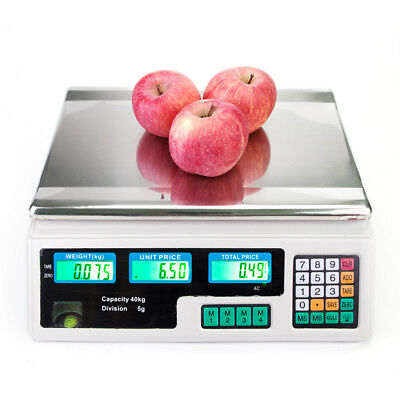Digital Weight Price Scale 40kg/5g Computing Food Meat Scale 8 Unit Prices