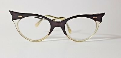 FABULOUS VINTAGE 50's WINGED CAT EYE SPECTACLES GLASSES DARK CHERRY RED