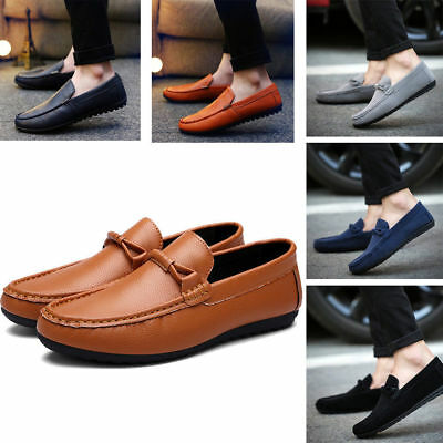 Mens New Slip On Loafers Driving Shoes leather boat Casual UK Size 5.5-9 New#04