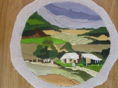 Completed Long Stitch  Of The Highlands 28 Cms High 29Cms Wide