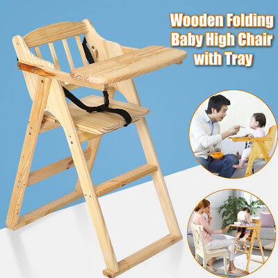 Wooden Baby High Chairs Infant Toddler Feeding Booster Seat Folding Portable