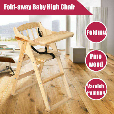Wood Baby Kid High Chair Stool Cushion Infant Toddler Feeding Booster Foldable