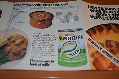 Retro 1960s Nestles Sunshine milk recipe brochure