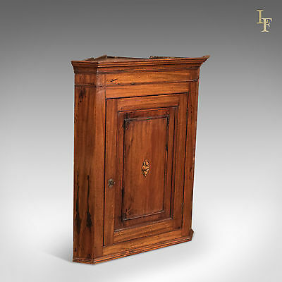 Antique Corner Cupboard, English Mahogany Georgian Wall Cabinet Hanging c1800