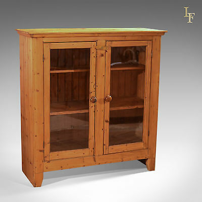 Antique Stripped Pine Bookcase Cabinet, Victorian Larder Cupboard, English c1900