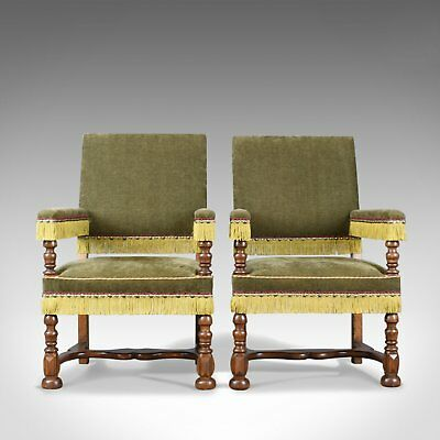 Pair of Antique Armchairs, English Oak Edwardian Jacobean Revival Chairs c.1910