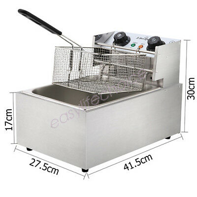 5 Star Chef Commercial Electric Single Basket Deep Fryer Kitchen Chip Cooker