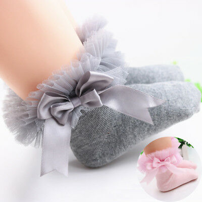 Toddler Baby Girls Lace Ruffle Frilly Ankle Socks Princess Anti Slip Tutu Socks