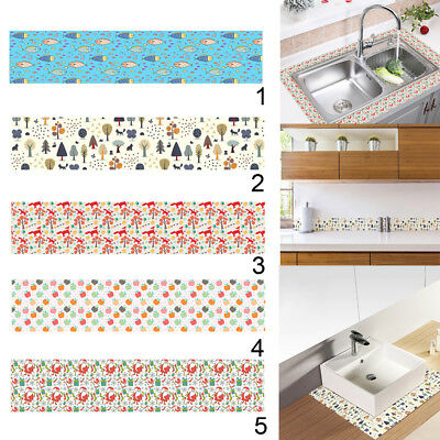 PVC Self Adhesive Wall Paper Kitchen Bathroom Waist Line Tiles Wall Sticker