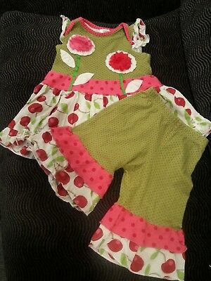 Boutique baby girl Roki & Zoi 2 piece set tunic dress and pants cherry 18 months