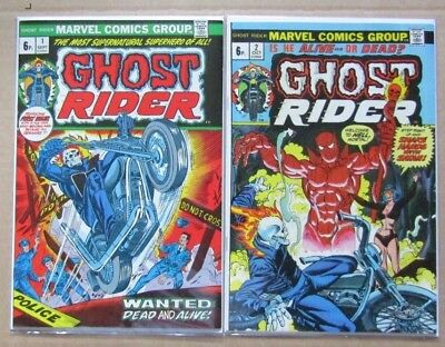 Marvel Ghost Rider #1 & #2 - 1973 - (Vf+) First & Second Issues -  Bronze Age Uk