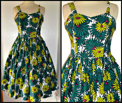 Vintage 50S Full Fitted Bodice Daisies Dress Uk 8 Rockabilly Swing