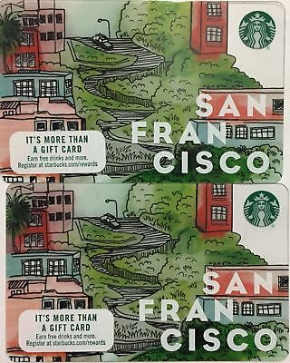 Lot 2 Starbucks SAN FRANCISCO City 2017 gift card set NEW!