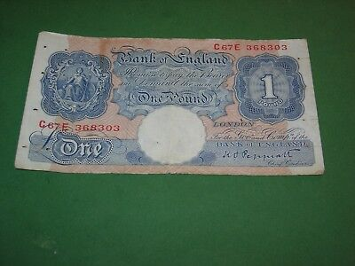 GREAT BRITAIN 1940 1 POUND BANKNOTE VERY GOOD CONDITION P-367a