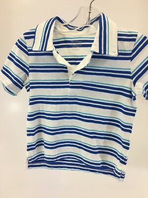 Children's Place Toddler Boys Striped Ss Polo Shirt White/cobalt/mystic 3T Nwt