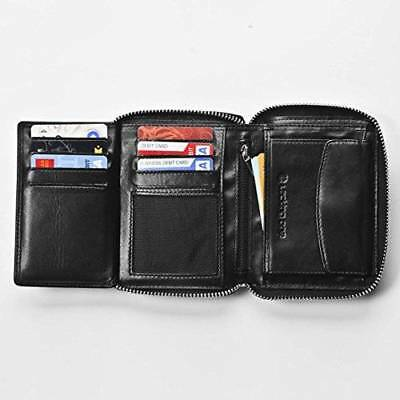 Black RFID Men's Blocking Wallet Leather Large Capacity Anti Theft Zip Closure