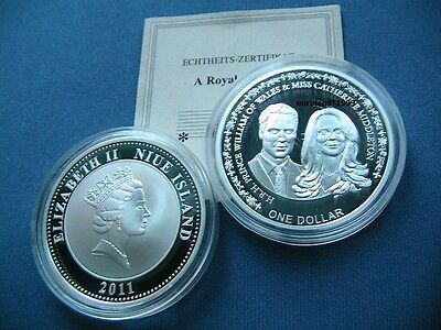 1 Dollar 2011 Hochzeit Prinz William & Kate / Versilbert / Pp Proof