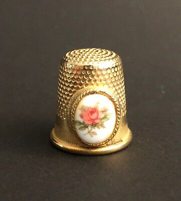 """Vintage Gold-Tone Thimble with Ceramic Rose Oval Inset Marked """"Spain 8"""""""