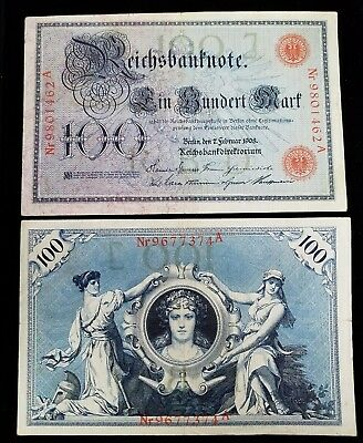 German 100 Mark Imperial Bank Note (F) FINE Dated 02.07.1908 K33a-557 NICE!!!