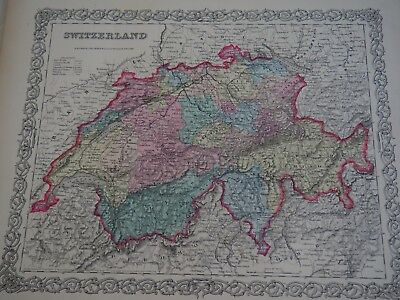 Switzerland Colton's-1855. From Colton's World Atlas of 1855-Free Ship