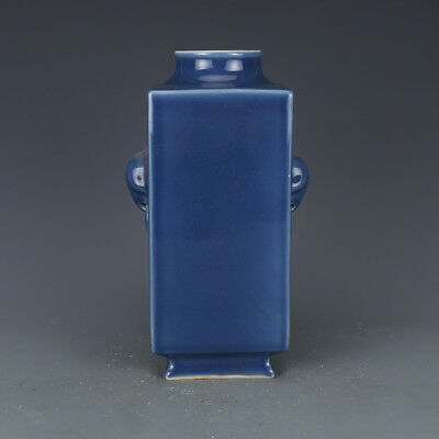 Rare Chinese Monochrome Blue Glaze Porcelain square Vase with Mark