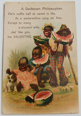Antique 1906 Black Americana Valentine Postcard M. Greiner Darktown Philosopher