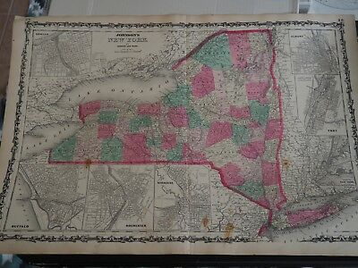 Antique Map of Johnson's New York by Johnson and Ward, 1864