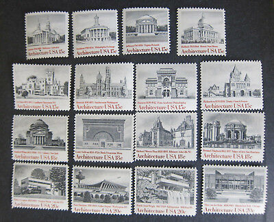 US, #1779//1838//1928//2022 American Architecture full set of 16 stamps, MNH