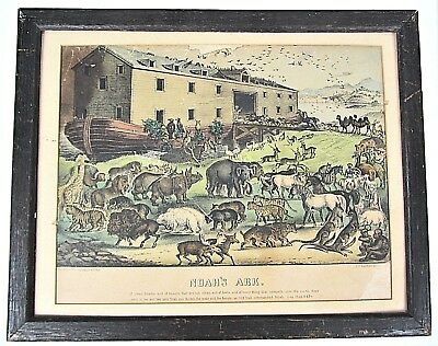 Noah's Ark Currier & Ives Hand Colored Lithograph Framed Antique Picture