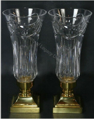 """Stunning Pair Waterford Crystal / Brass """"Pompeii"""" Hurricane Candle Holders MINT"""