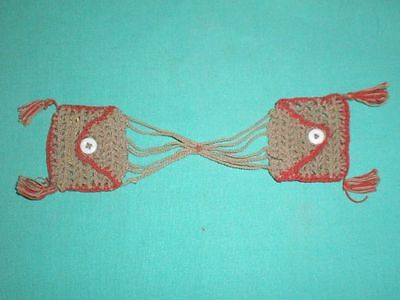Puppentaschen braun/rot/ doll bags brown with red egded
