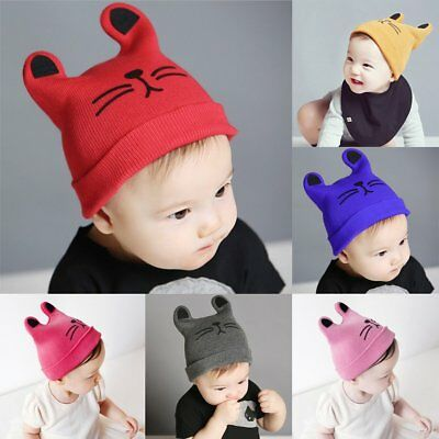 Baby Hat Cartoon Knitting Cap Toddler Boys Girls Cat Ear Cap Infant Warm Hat F7