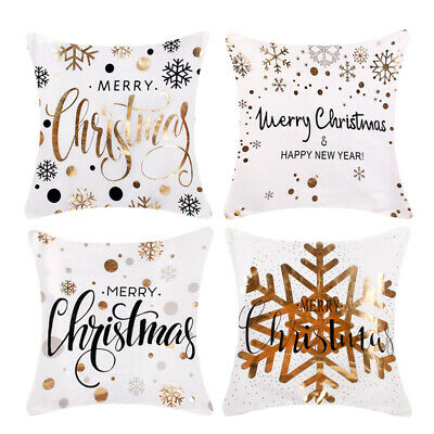 Gold Glitter Merry Christmas Pillowcase Xmas Sofa Throw Cushion Cover Home Decor