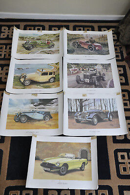 Job Lot X 7 Mg Car Poster / Art Print - Na K3 Magnette / Tf Midget / Mgb - 1980