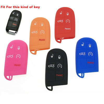1pc 5-Buttons Silicone Key Fob Shell Cover Case For Jeep Chrysler Dodge Charger