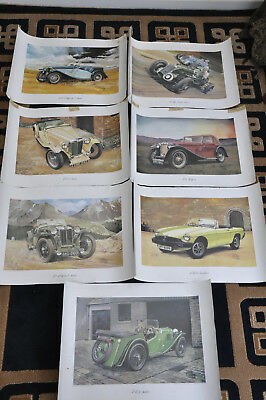 Job Lot X 7 Mg Car Poster / Art Print - Tb Tickford / L2 Magna / Mgb / Pb - 1980