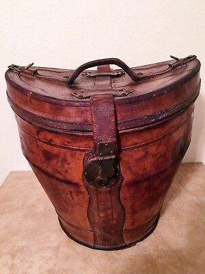 Antique Large Victorian 1880s Leather Top Hat Box w/Lid & Velvet Lining