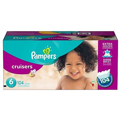 Pampers Cruisers Size 6 Diapers 104 Count Changing Baby Toddlers Kids 35+lbs New