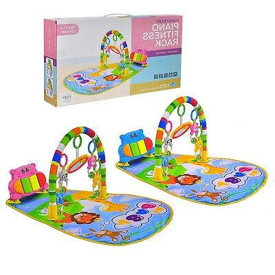 Fitness Baby Gym Play Mat Lay & Play Music And Lights Fun Piano Rack, Playmat