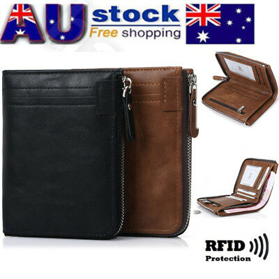 AU Designer Mens Leather Wallet RFID Contactless Card Blocking ID Protection