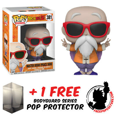 Funko Pop Dragon Ball Z Master Roshi Peace Sign Exclusive + Pop Protector