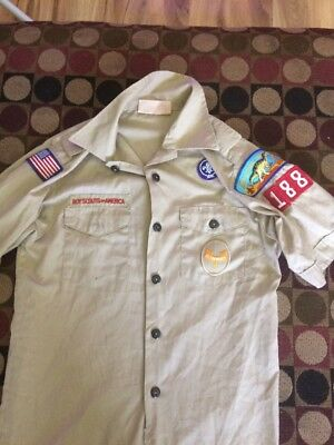Boy Scout Uniform Tan Shirt with patches youth Large