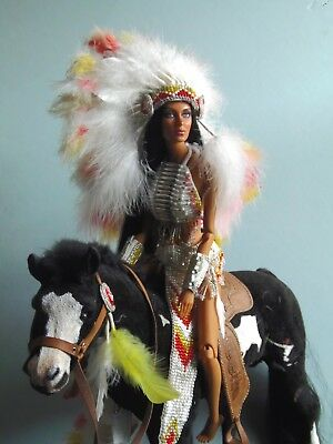 Ooak Sybarite Doll Repaint  -- Cher Half Breed With Ooak Painted Horse