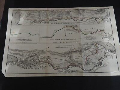 """Antique Map """"Plan of the Caledonian Canal"""" Four Views-Sections May, 1813"""
