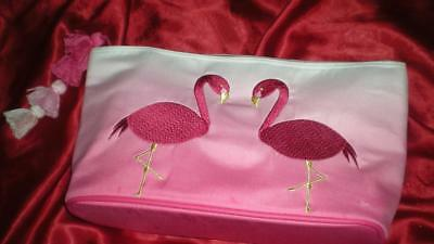 Tropical Pink Flamingo Cosmetic Accessories Beach Party Bag Purse By Ellen Tracy