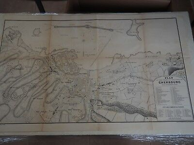"""Antique Map """"Plan of the Harbor and City of Cherbourg"""" with its Fortifications"""