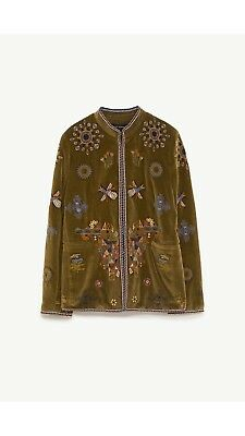Zara Khaki Velvet Embroidered Jacket Size L Bnwt
